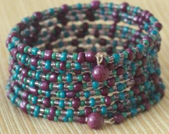 Seed bead memory wire bracelet