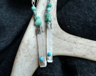 Crystal and Turquoise Earrings