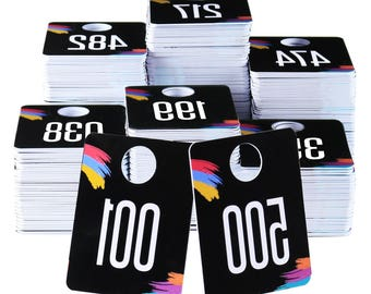 Plastic Number Tags Live Sale Normal and Reverse Mirror Image Hanger Cards