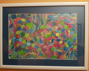 Colorfull drawing, happy art,  baloons, zentangle, tangle, meditative therapy art, color therapy, joy
