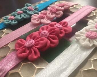 3 flower headband, Baby flower headband, triple flower headband, baby headband, pink headband, flower headband, blue headband