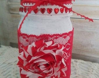 Red Heart Jar