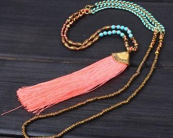 4mm crystgal beads New stylish design bright orange tassel metal sweater beaded necklace