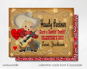 Retro Vintage Cowboy Valentine's Day Cards, Western Cowboy Valentines for Boys, 1950s Cowboy Valentine Cards, Classroom Valentines DI-VAL89