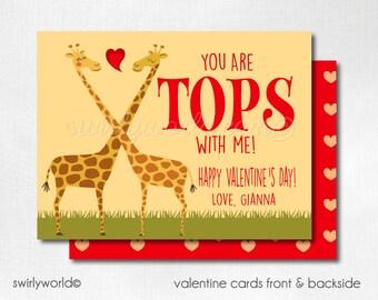 Giraffe Valentine's Day Cards, Valentines for Kids, Giraffe Valentine Cards, Cute Classroom Giraffe Valentine Cards for Girls, DI-VAL106