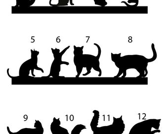 cat Cake topper, wedding cake topper, cats Silhouette cupcake toppers