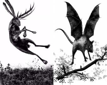 Dark woodland creatures  2x A4 print set