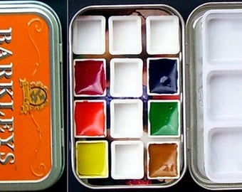 Mint Tin Watercolor Set with Filled and Empty Half-Pans