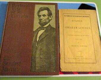 2 Abraham Lincoln items-1 h/c book-portrait life of lincoln,1910--1 booklet,eulogy of abraham lincoln,1865