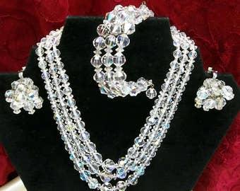Vintage Aurora Borealis Laguna Crystal Bead Necklace Wire Wrap Bracelet Dangle Clip Earrings 3 Strand Necklace Signed  Wedding Jewelry Set