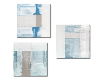 Set of three textured paintings, abstract mixed media canvas, modern home decor, wall art, blue tone canvases