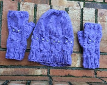 Cabled Owl Fingerless Gloves + Matching Beanie Set, Shown in Custom Purple
