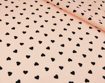 Cotton Fabric, Printed fabric, Quilting Fabric, Hearts Fabric,Love Heart Fabric,Peach Black Cotton ,  Fabric by the Yard-Half Yard
