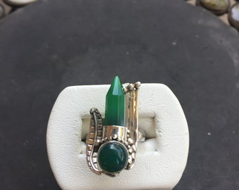 Silver and green onyx ring