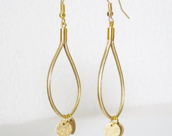 Earrings ear STRIPS FAUX LEATHER and granite manufactured Golden hand