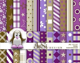 SALE Digital paper pack, purple set, gold, green, purple background, violet scrapbook
