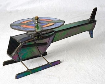 Handmade Stained Glass Helicopter Kaleidoscope
