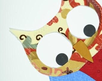 Blue Wing Owl Handmade Fabric Card