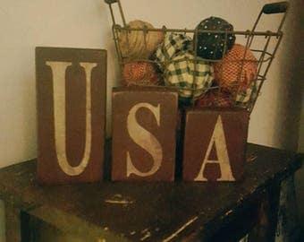 Usa Wooden Block Sets-Americana Decor-Americana-USA-primitive block set-wooden word block set-primitive-home decor-Americana Primitives