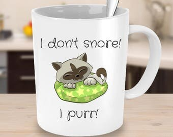 I don't snore! I purr! - Funny Gift Mug for Cat Lovers