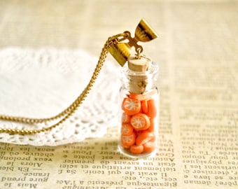 Handmade miniature polymer clay candied oranges bottle necklace - miniature food jewelry, bottle necklace, food jewelry