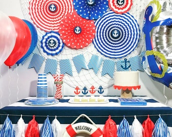 nautical party decorations birthday party decorations baby shower decorations blue red - Nautical Party Decorations