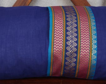 Rainbow Sky 3 series: South India cover 30x50cm (12 x 20 inches) cushion, cotton lined with embroidered braid. Dark blue color.