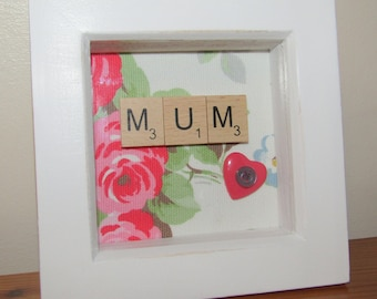 Little Cath Kidston Print Scrabble Mum picture, mothers day, birthday,