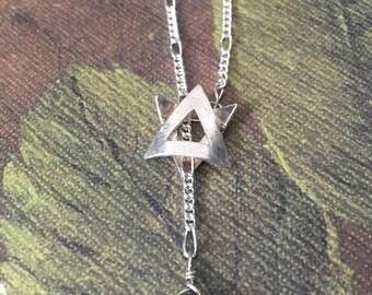 Sterling Lariat Triangle Smoky Quartz Drop Necklace