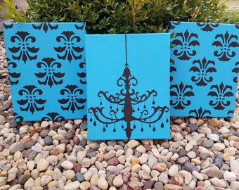 Blue Damask Chandelier Canvas Set