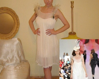Dress couture silk and ostrich feathers