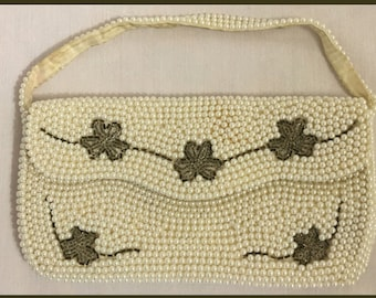 1950s Vintage Beaded Bag: Made In Japan Clutch, Purse, Evening Bag