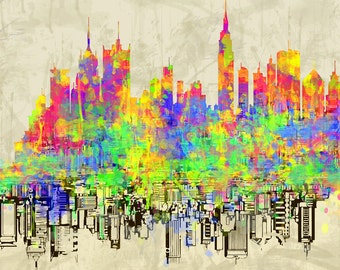 Digital painting , canvas art,Painting digital art combined with acrylic,  colorstechnique,new york, home,mix media,acryilic colors,abstract