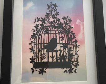 Bird song Beautiful Papercut handmade