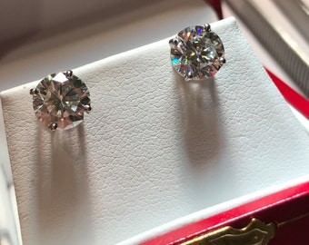 7mm NEO Moissanite Platinum Stud 4 Prong Earrings with Protektor Backs