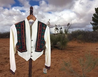 Women's Rodeo Shirt, Vintage Southwestern Blouse, Western Top, New with Tags, Circle T by Marilyn Lenox, Formal Cowgirl Shirt, Small