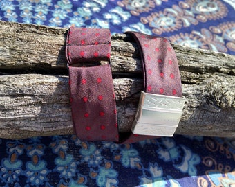 Adjustable Upcycled Bowtie Bracelet with Magnetic Clasp Polka Dot