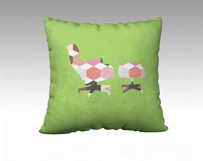 Lime Green Geometric Throw Pillow, Herman Miller Chair Pillow, pillow cover, Pillow Cover, Sofa Pillows, Decorative Pillow, Mid Century