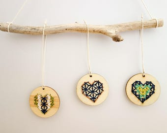 Stitched wooden ornaments (individual)