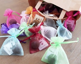 10 Seedbombs as a gift in the organza bag, colors and varieties of Seedballs discretion