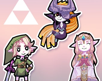 Legend of Zelda stickers - Link, Midna and Zelda