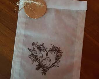 Wedding favor bags /10 pc white glassine bags -brown kraft tag and small wooden clip clamps