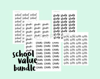 SCHOOL VALUE BUNDLE - Bullet Journal Stickers - Planner Stickers - Text Stickers - Functional Stickers