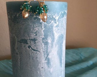 Gold and Swarovski crystals earrings
