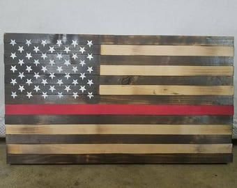 Rustic Thin Red Line Wood Flag