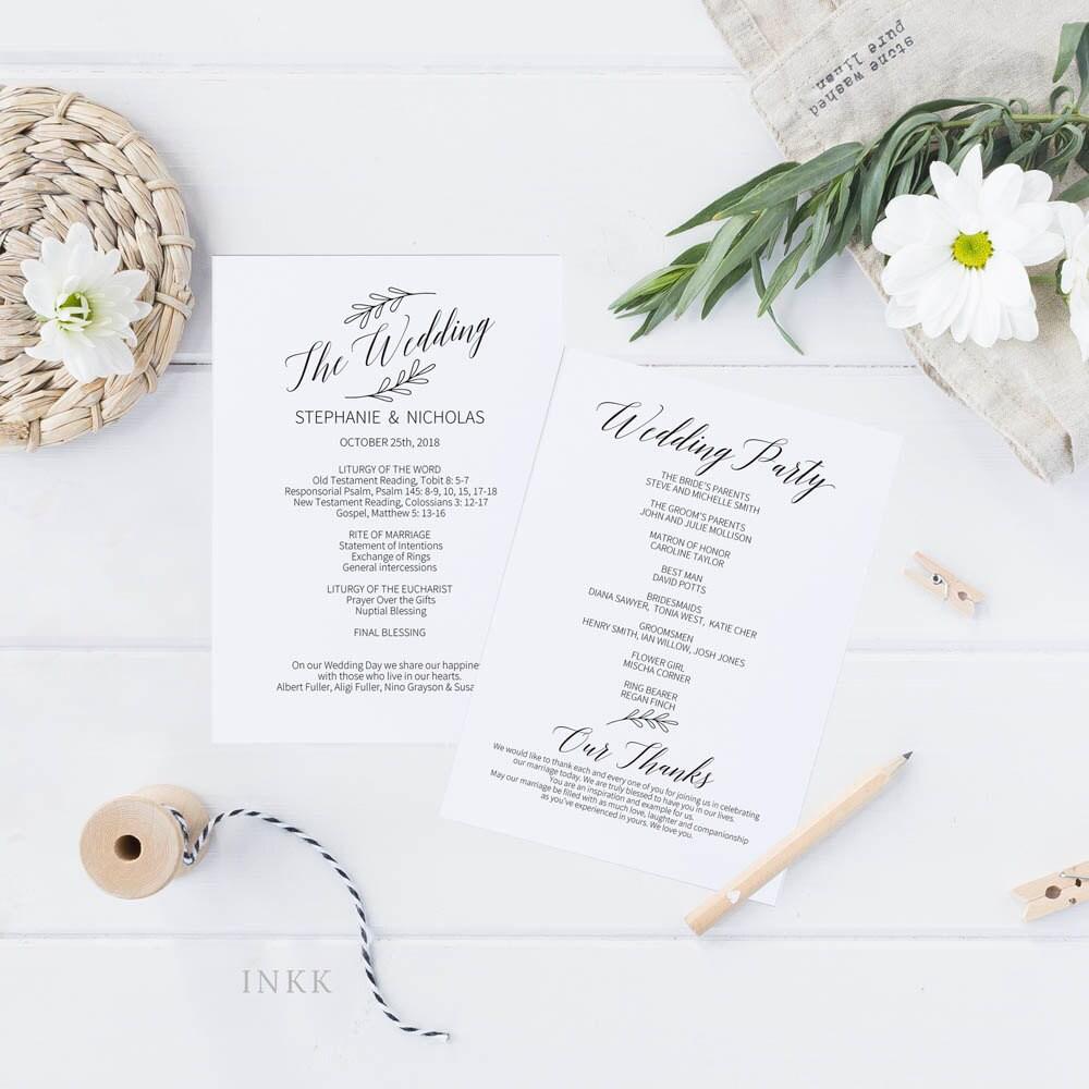 Printable Wedding Program, Wedding Program Template, Rustic Wedding ...