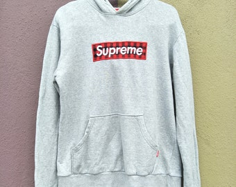Vintage 90's Supreme Box Logo Hoodie Black Streetwear Size L
