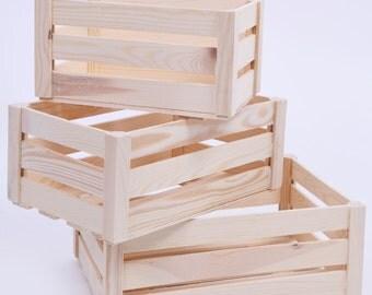 Wooden storage crates. 3 sizes. Storage crates. Wooden crates. Wooden crate. Wooden crate box. Wooden crate wedding. Wooden crate prop.