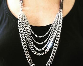 Punk Necklace, Steam Punk Necklace, Silver Necklace, Leather Necklace, Chains Necklace, nickel Necklace, Rocker Necklace, Leather Jewelry