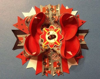 """6"""" Handmade Boutique Stacked Fire Fighter Hair Bow - Fire Truck / Maltese Cross"""